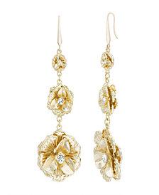 Catherine Malandrino Women's Flower Style White Rhinestone Tiered Flower Yellow Gold-Tone Drop Earrings