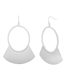 Catherine Malandrino Women's Polished Silver-Tone Crescent Hoop Earrings