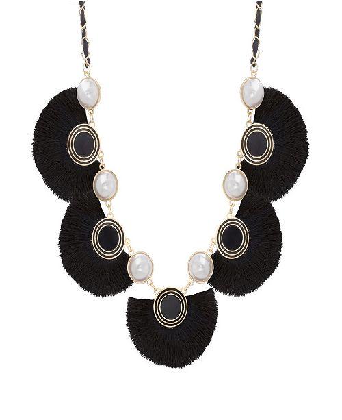 Catherine Malandrino Women's Simulated White Pearl And Black Silk Fan Design Yellow Gold-Tone Necklace