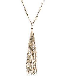 Catherine Malandrino Women's Pink Beaded Rhinestone Yellow Gold-Tone Tassel Chain Necklace