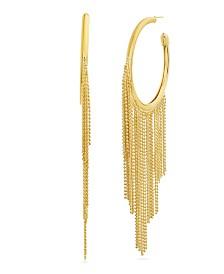 Catherine Malandrino Women's Polished Open Circle Dangling Fringe Yellow Gold-Tone Hoop Earrings