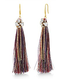 Catherine Malandrino Women's Clustered White Rhinestone Yellow Gold-Tone Multicolor Tassel Earrings