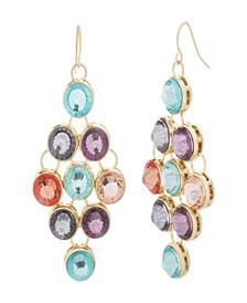 Women's Multicolored Rhinestone Yellow Gold-Tone Dangling-Style Earrings