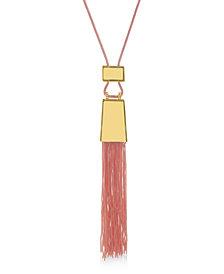 Catherine Malandrino Women's Pink Knit Tassel Yellow Gold-Tone Necklace