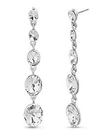 Women's Tiered Round White Rhinestone Link Silver-Tone Dangle Earrings