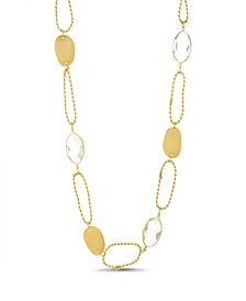 Women's White Rhinestone Oval Shaped Yellow Gold-Tone Chain Necklace