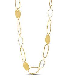 Catherine Malandrino Women's White Rhinestone Oval Shaped Yellow Gold-Tone Chain Necklace