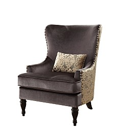 Fabric Upholstered Accent Chair with Pillow
