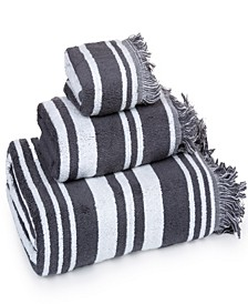 - Multi Stripe with fringe 100% Combed Cotton 3 Piece Towel Set