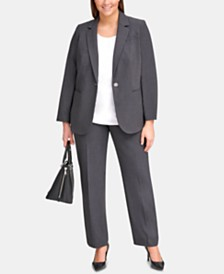 Calvin Klein Plus Size One-Button Jacket & Straight-Leg Pants