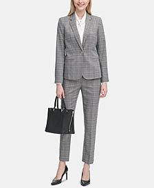 Calvin Klein Metallic Plaid Jacket & Straight-Leg Pants