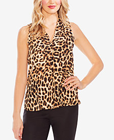 Vince Camuto Leopard-Print Pleated-Front Top