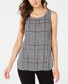 Alfani Gingham-Print Top, Created for Macy's