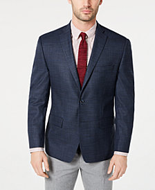 Michael Kors Men's Classic-Fit Navy Plaid Sport Coat