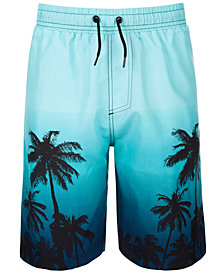 Ideology Big Boys Ombré Palm-Print Swim Trunks, Created for Macy's