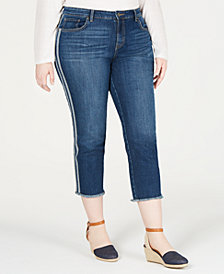 Style & Co Plus Size Side-Striped Skinny Jeans, Created for Macy's