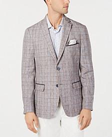 Orange Men's Slim-Fit Linen Brown Plaid Sport Coat