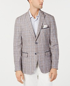 Tallia Orange Men's Slim-Fit Linen Brown Plaid Sport Coat