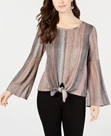 b6b96e2f077 Style   Co Petite Tie-Front Lantern-Sleeve Top