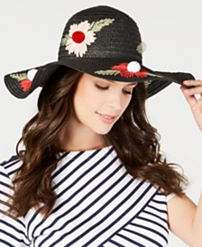Betsey Johnson Floral Bliss Pom Pom Floppy Hat
