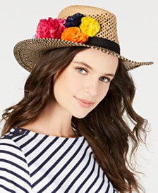 Betsey Johnson Pom Pom Panama Hat