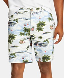 "Nautica Men's Blue Sail Aloha Classic-Fit Stretch Tropical-Print 8-1/2"" Deck Shorts, Created for Macy's"