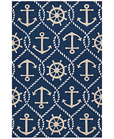 KAS Harbor Marina 4220 Navy 2' x 3' Indoor/Outdoor Area Rug