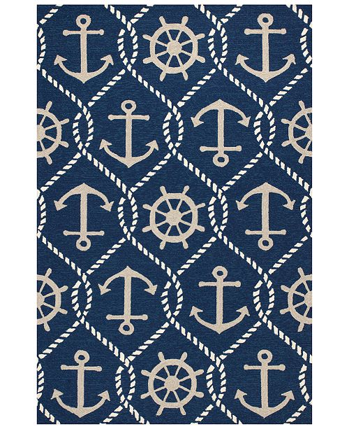"Kas Harbor Marina 4220 Navy 5' x 7'6"" Indoor/Outdoor Area Rug"