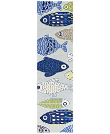 """KAS Sonesta Sea of Fish 2010 Light Blue 2' x 7'6"""" Runner Area Rug"""