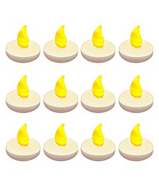 Lumabase Set of 12 Flickering Amber Floating Tealights