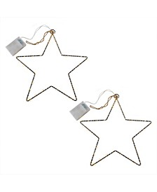 Lumabase Set of 2 Star Motif with Mini LED String Lights