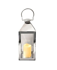 Lumabase Chrome Traditional Metal Lantern with LED Candle