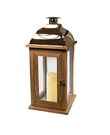 Lumabase Brown Wooden Lantern with Copper Roof and LED Candle