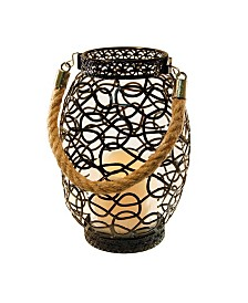 Lumabase Black Swirl Wire Lantern with LED Candle