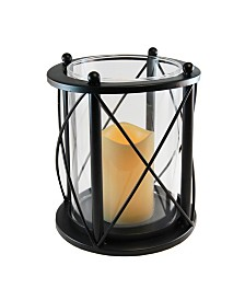 Lumabase Black Round Criss Cross Metal Lantern with LED Candle