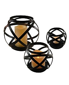Lumabase Set of 3 Black Banded Metal Lanterns with LED Candles