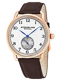 Original Stainless Steel Rose Tone Case on Brown Genuine Leather Strap, Silver Dial, With Black and Blue Accents
