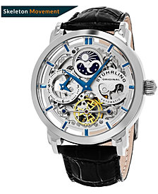 Stuhrling Original Stainless Steel Case on Black Alligator Embossed Genuine Leather Strap, Silver Tone Skeletonized Dial, With Blue Accents