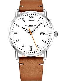 Original Men's Silver Case, Silver Dial, Black Leather Strap Watch