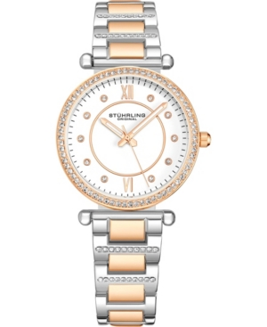 Stuhrling Original Womens Crystal Studded Silver/Rose Case and Bracelet, White Dial Watch