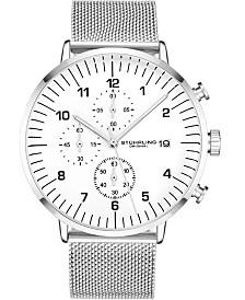 Stuhrling Original Men's Tan Dial, Silver Mesh Bracelet, Chrono Watch