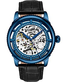 Original Men's Skeleton, Blue Case, Black Leather Strap Watch