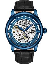 Stuhrling Original Men's Skeleton, Blue Case, Black Leather Strap Watch