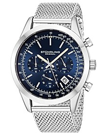 Original Men's Quartz Chronograph Date Watch, Silver Tone Alloy Case, Blue Dial, Stainless Steel Mesh Bracelet