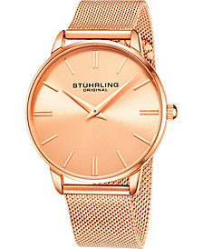 Stuhrling Men's Rose Gold Mesh Stainless Steel Bracelet Watch 42mm
