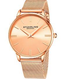 Stuhrling Original Men's Rose Dial, Rose Accents, Rose Mesh Bracelet Watch