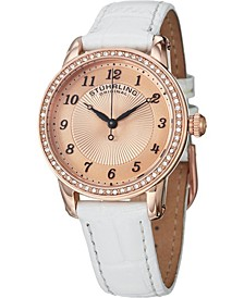 Original  Classy Ladies Ultra Slim Quartz Watch, Rose Tone Case on White Alligator Embossed Genuine Leather Strap, Crystals on Rose Tone Bezel, Rose Tone Dial With Black Accents