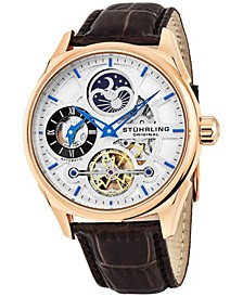 Original Men's Automatic Skeletonzied Dual Time Watch, Rose Tone Case on Brown Alligator Embossed Genuine Leather Strap, Silver Tone and Rose Tone Dial, With Blue, Gray, Black, and Rose Tone Accents