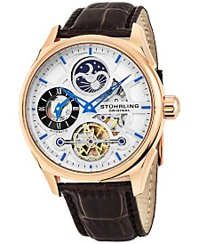Stuhrling Original Men's Automatic Skeletonzied Dual Time Watch, Rose Tone Case on Brown Alligator Embossed Genuine Leather Strap, Silver Tone and Rose Tone Dial, With Blue, Gray, Black, and Rose Tone Accents