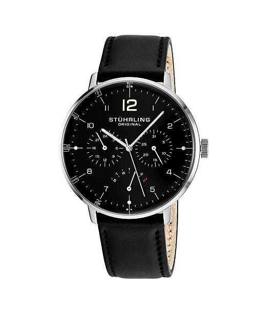 Stuhrling Original Men's Quartz Silver Case Silver Dial Multifunction Black Leather Strap Watch